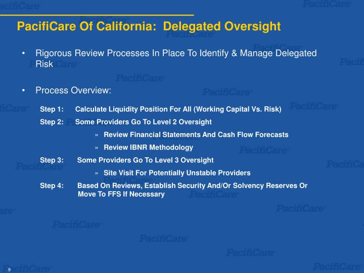 PacifiCare Of California:  Delegated Oversight
