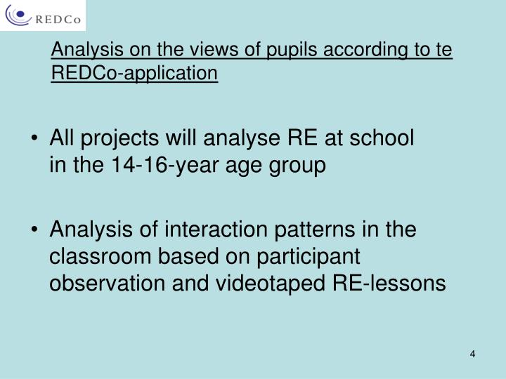 Analysis on the views of pupils according to te REDCo-application