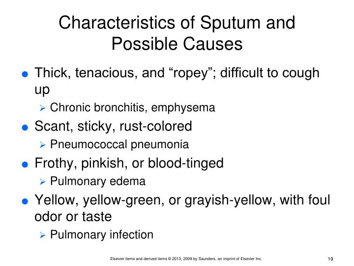 Characteristics of Sputum and