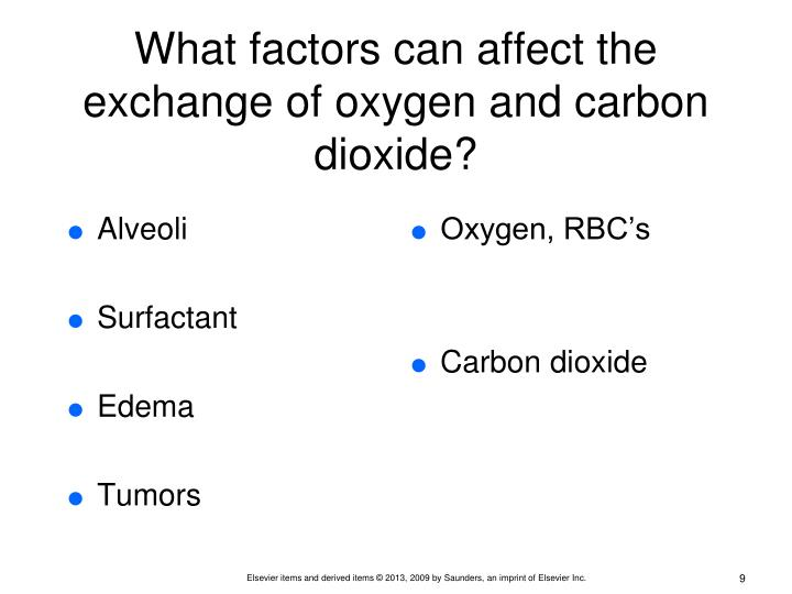 What factors can affect the exchange of oxygen and carbon dioxide?