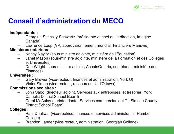 Conseil d'administration du MECO