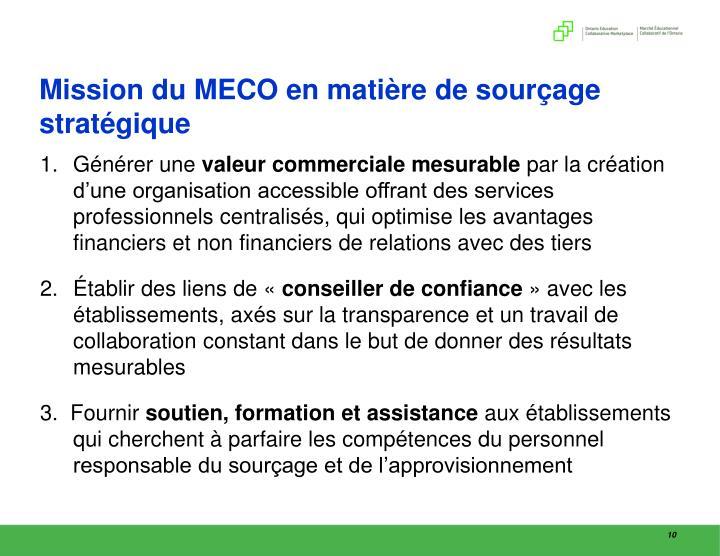 Mission du MECO en matière de sourçage stratégique