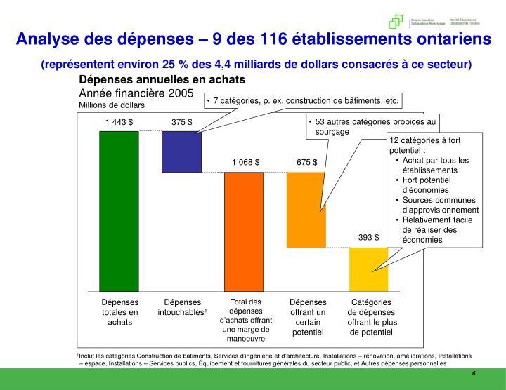 Analyse des dépenses – 9 des 116 établissements ontariens