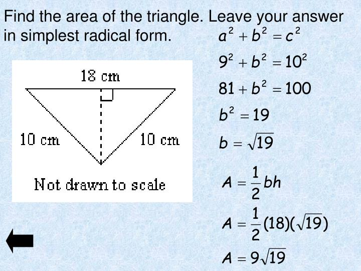 Find the area of the triangle. Leave your answer in simplest radical form.