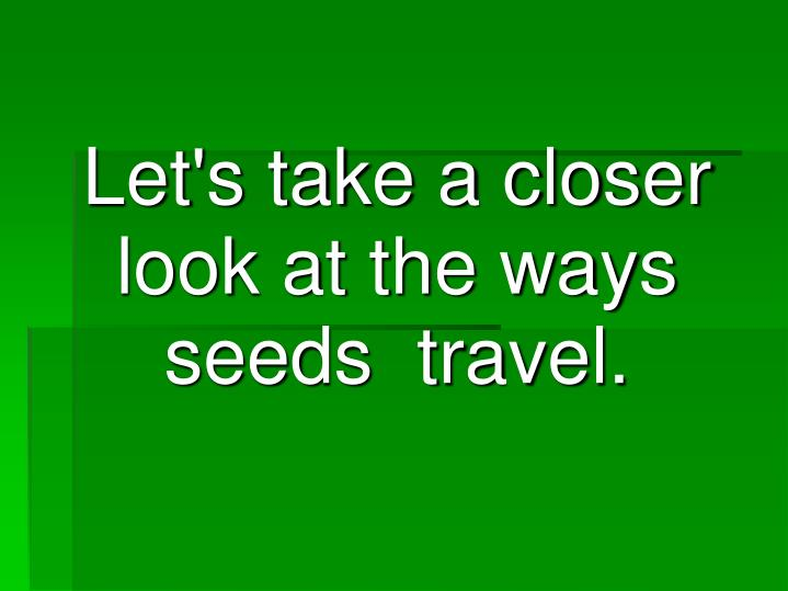 Let's take a closer look at the ways seeds  travel.