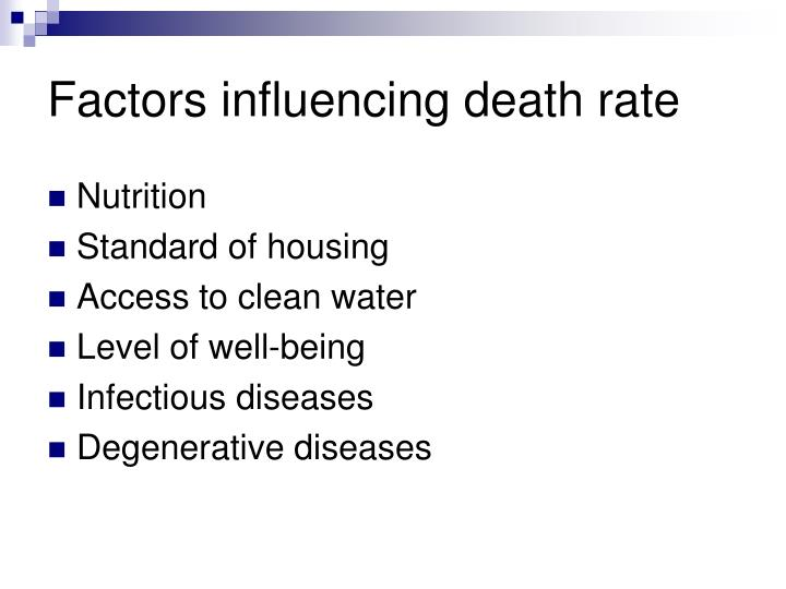 Factors influencing death rate