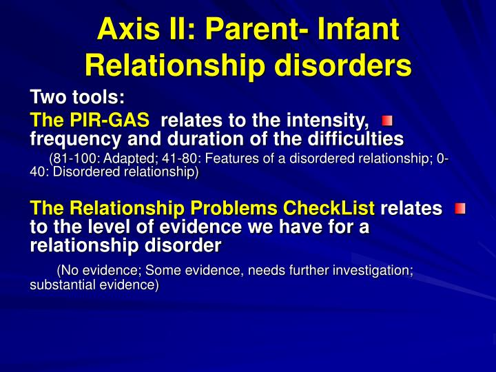 Axis II: Parent- Infant Relationship disorders