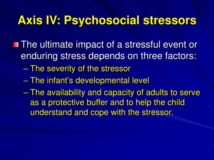 Axis IV: Psychosocial stressors