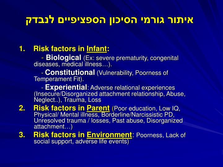 איתור גורמי הסיכון הספציפיים לנבדק