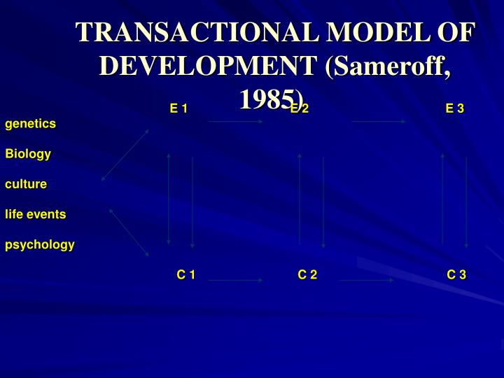 TRANSACTIONAL MODEL OF DEVELOPMENT (Sameroff, 1985)