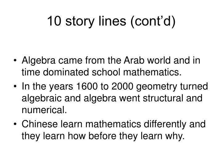 10 story lines (cont'd)