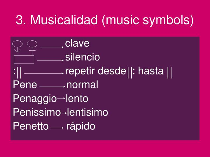 3. Musicalidad (music symbols)