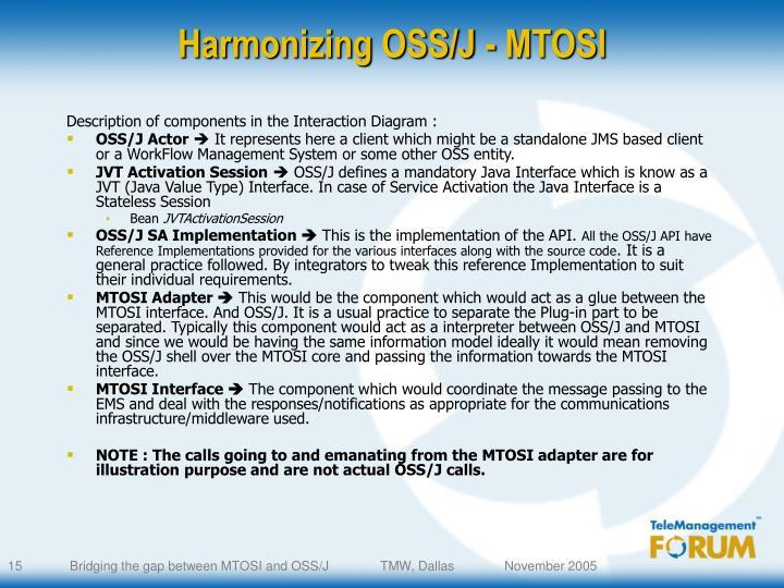 Harmonizing OSS/J - MTOSI