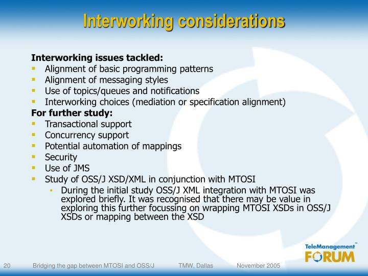 Interworking considerations