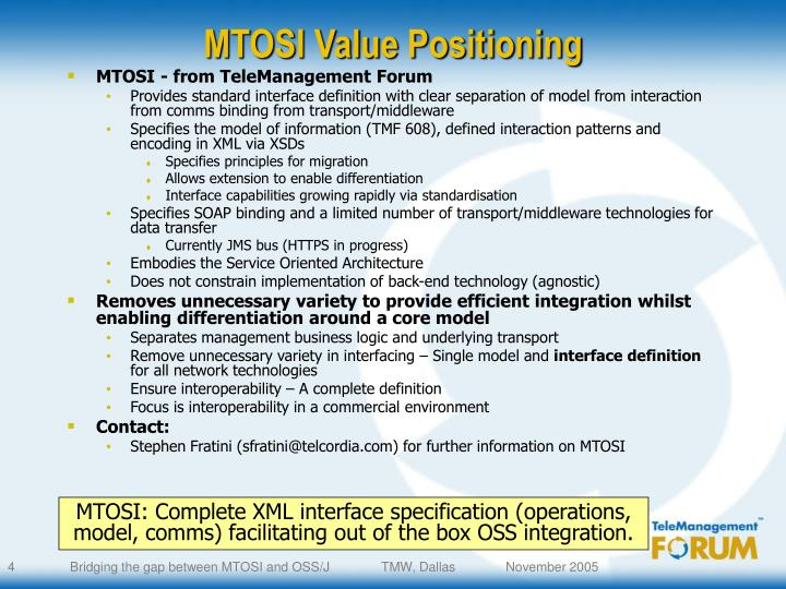 MTOSI Value Positioning