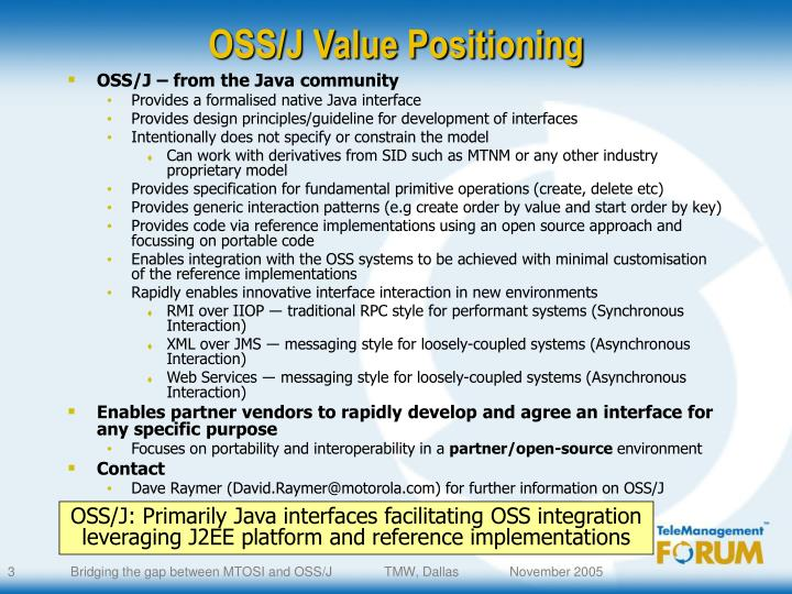 OSS/J Value Positioning