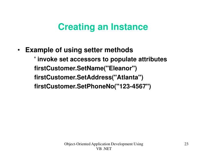 Creating an Instance