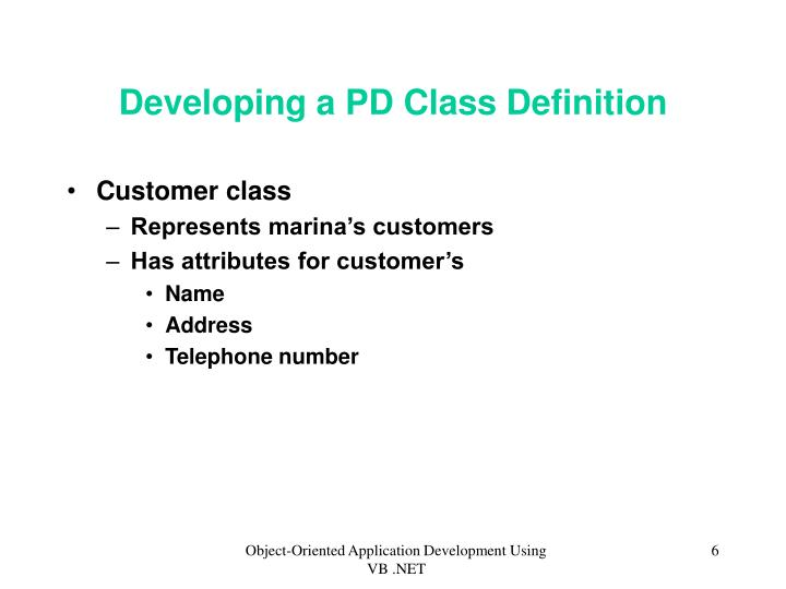 Developing a PD Class Definition
