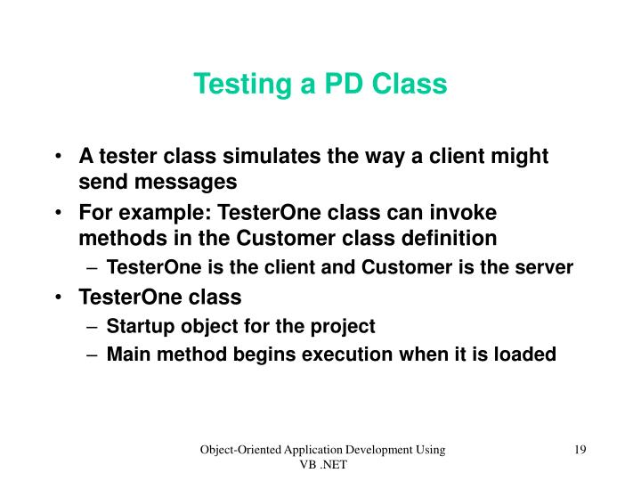 Testing a PD Class