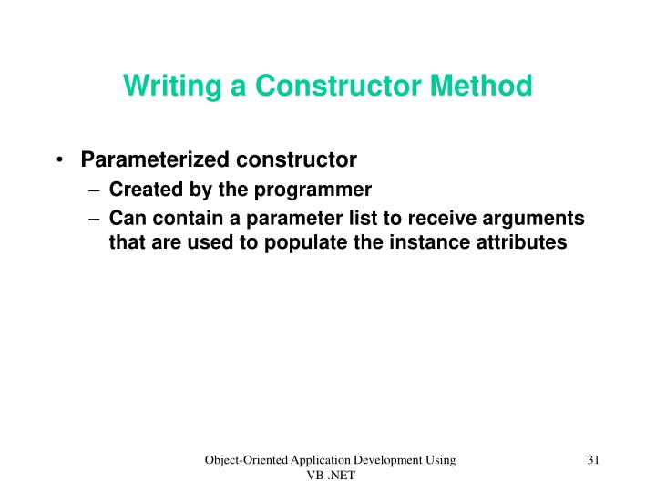 Writing a Constructor Method