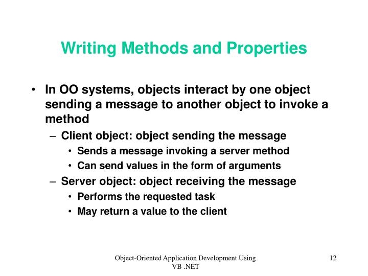 Writing Methods and Properties