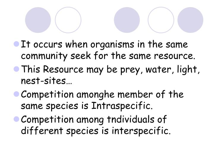 It occurs when organisms in the same community seek for the same resource.