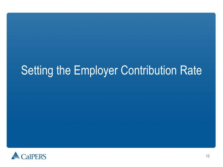 Setting the Employer Contribution Rate