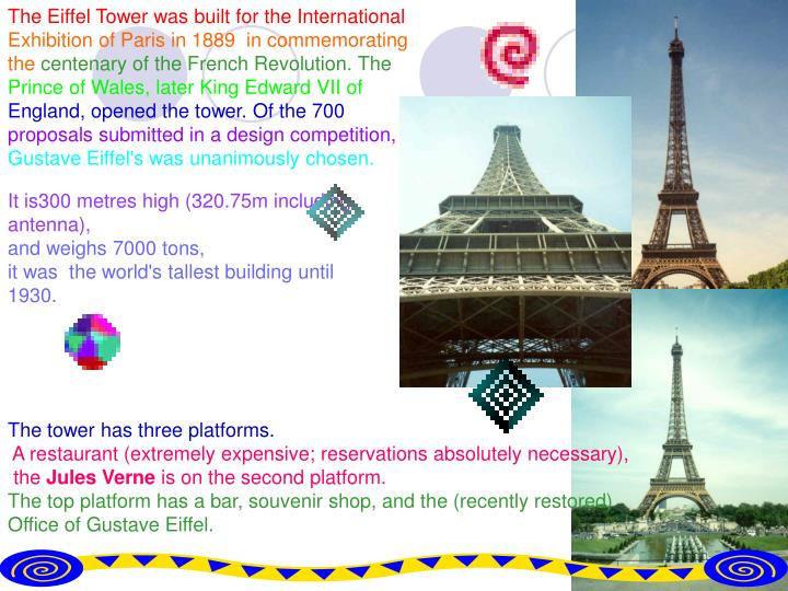 The Eiffel Tower was built for the International