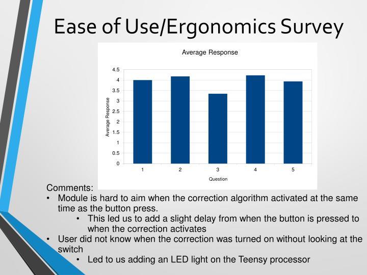 Ease of Use/Ergonomics Survey