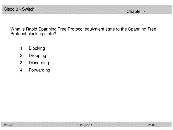 What is Rapid Spanning Tree Protocol equivalent state to the Spanning Tree Protocol blocking state?