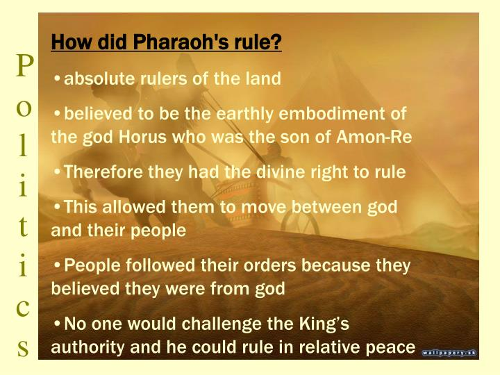 How did Pharaoh's rule?