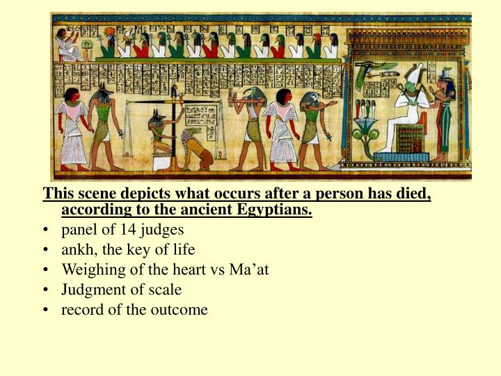 This scene depicts what occurs after a person has died, according to the ancient Egyptians.