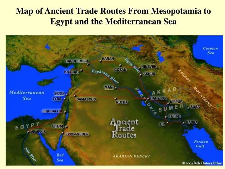 Map of Ancient Trade Routes From Mesopotamia to Egypt and the Mediterranean Sea