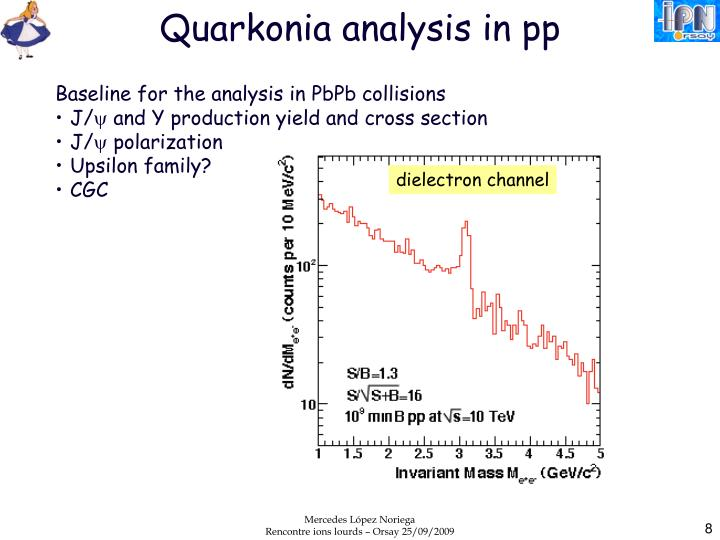 Quarkonia analysis in pp