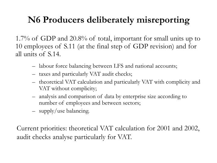 N6 Producers deliberately misreporting