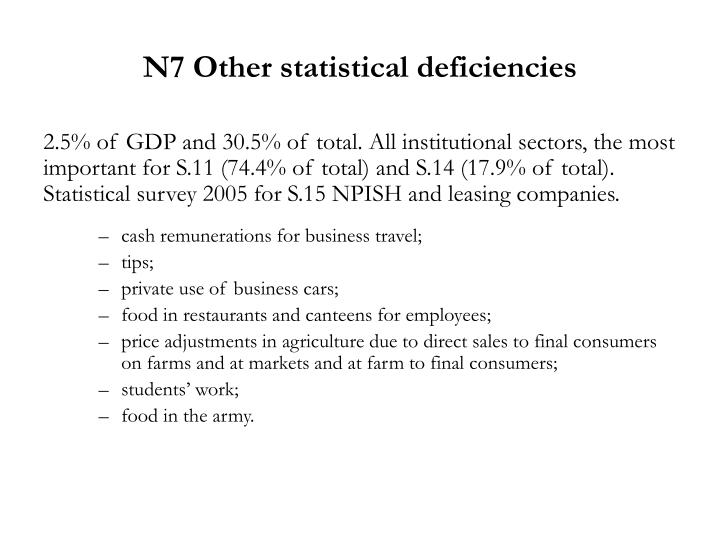 N7 Other statistical deficiencies
