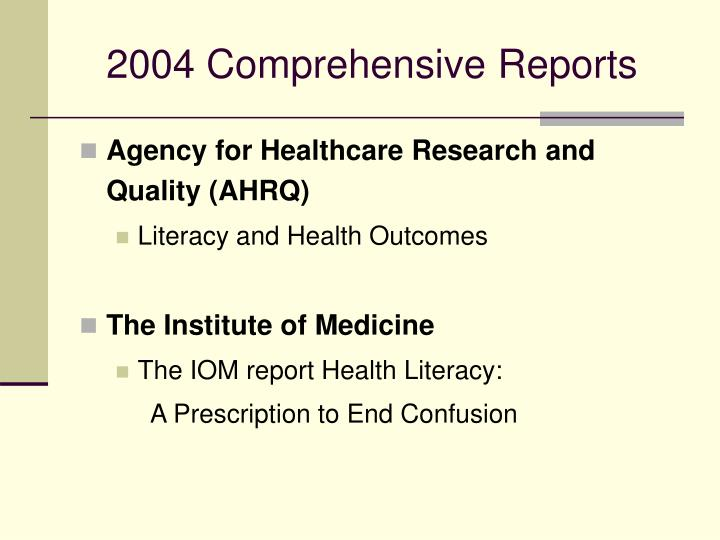 2004 Comprehensive Reports
