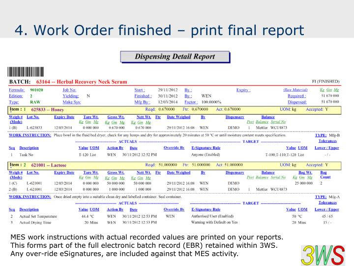 4. Work Order finished – print final report