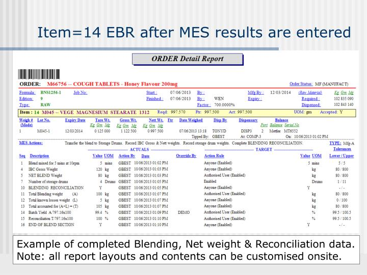 Item=14 EBR after MES results are entered
