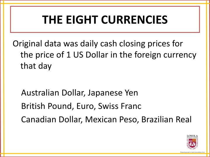 THE EIGHT CURRENCIES