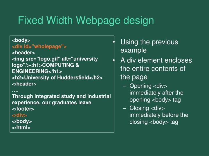 Fixed Width Webpage design