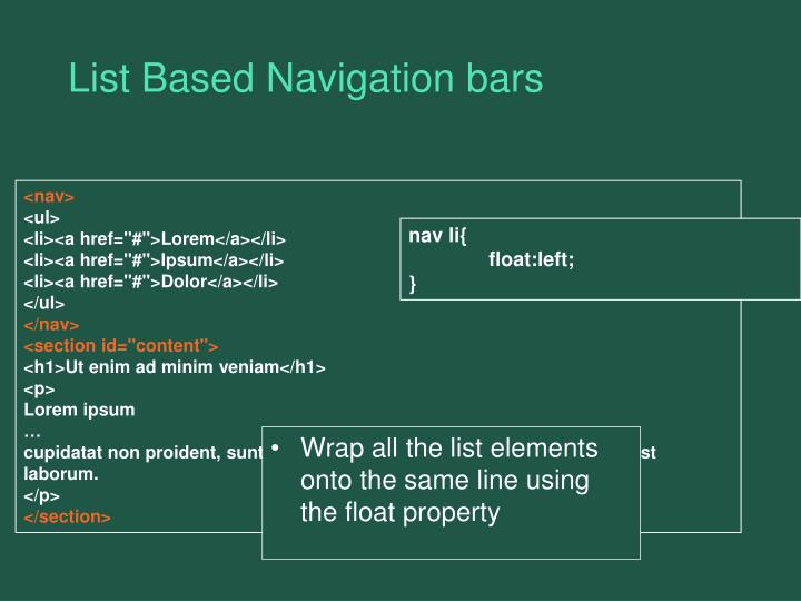 List Based Navigation bars