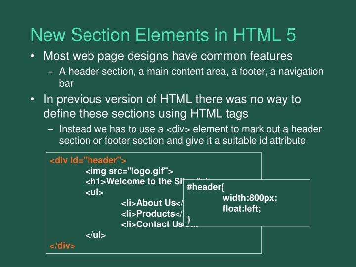 New Section Elements in HTML 5