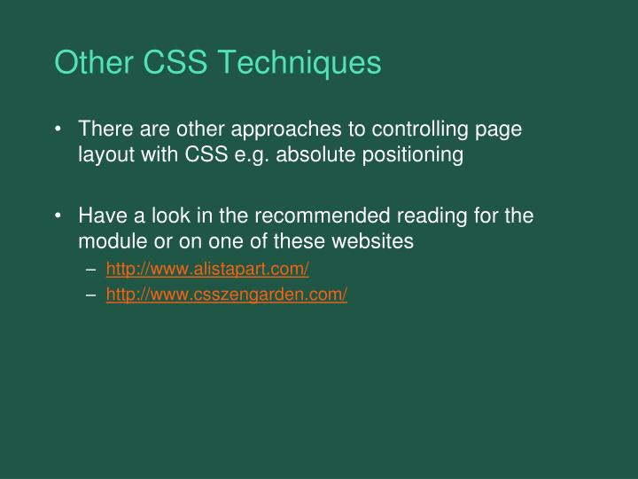 Other CSS Techniques