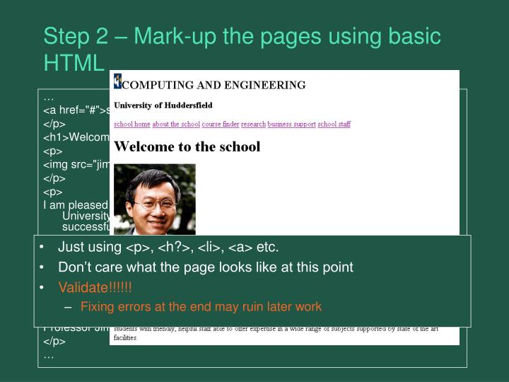 Step 2 – Mark-up the pages using basic HTML