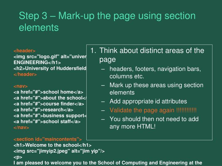 Step 3 – Mark-up the page using section elements