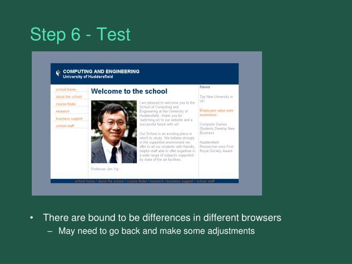 Step 6 - Test