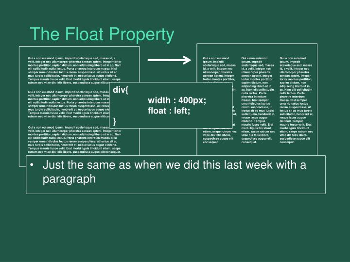 The Float Property