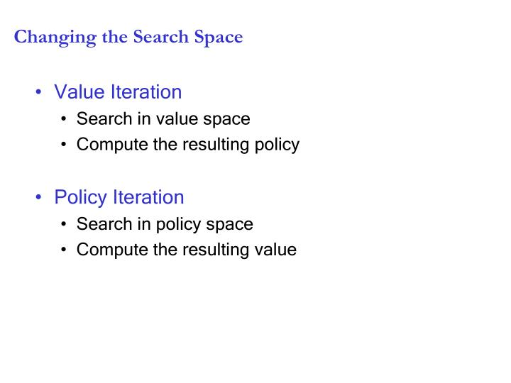 Changing the Search Space