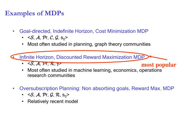 Examples of MDPs